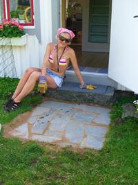 Posering vid sten