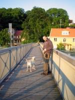 Hugo och Jocke på en bro över E6